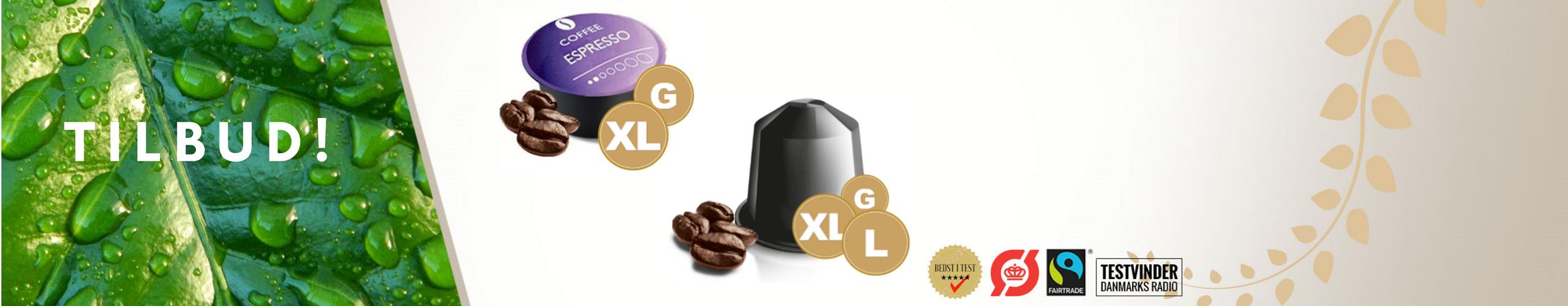 Få GRATIS ekstra kaffe når du bestiller Large-, XL- eller Giga-pakken!