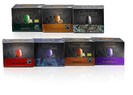 Nespresso compatible coffee capsules with organic and decaf coffee. From Real Coffee.