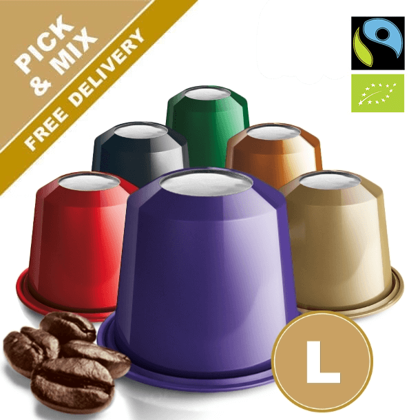 Nespresso capsules with organic and decaf coffee. Many varieties to choose from. Real Coffee.