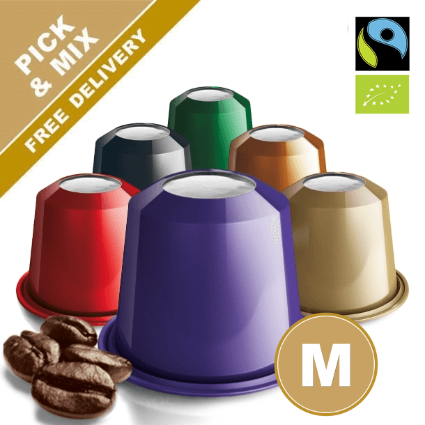 Nespresso compatible coffee capsules with organic and decaf coffee. Many varieties to choose from. Real Coffee.